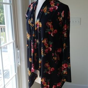Cool Melon Velour Feel Floral Open Cardigan